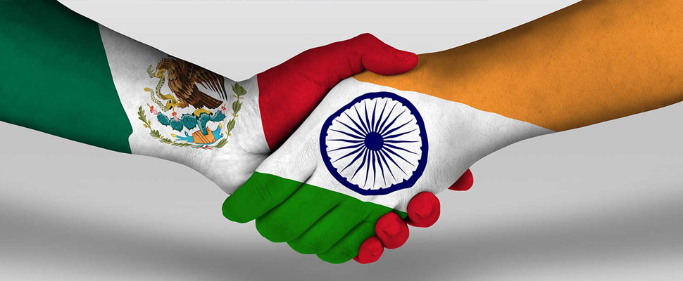 What does the commercial strengthening between India and Mexico consist of?