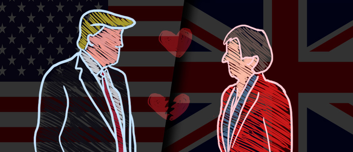 Silueta Donald Trump y Theresa May- bandera estados unidos y reino unido