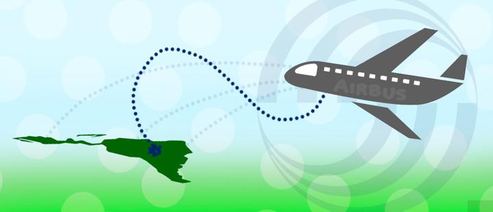 Avión de Airbus - Mapa de Latinoamerica