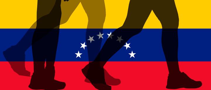 Bandera Venezuela - silueta personas caminando