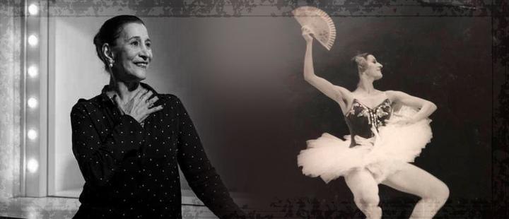Ana Consuelo Gómez usando una camissa negra y Ana Consuelo Gómez en una presentación de ballet.