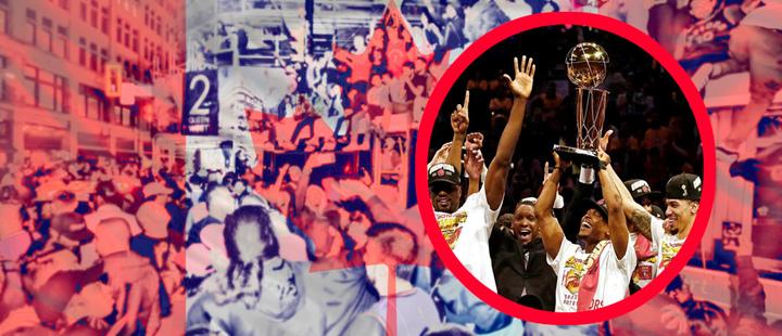 Equipo Raptors de la NBA celebrando el título y de fondo fotografía de la celebración en las calles de Toronto