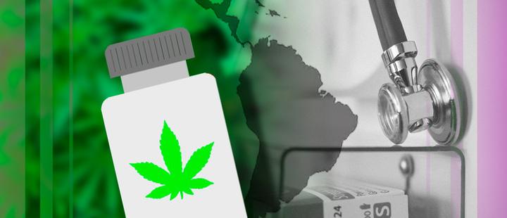 Envase de medicina con la silueta de una hoja de marihuana y de fondo el mapa de latinoamérica y un estetoscopio