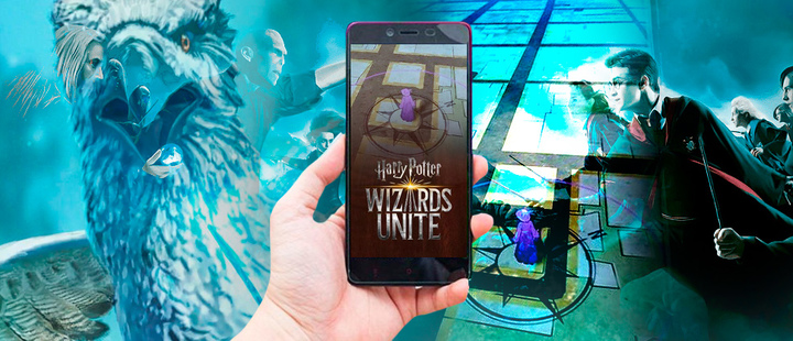 Personajes de la saga de Harry Potter y capturas de pantalla del juego Harry Potter Wizards Unite