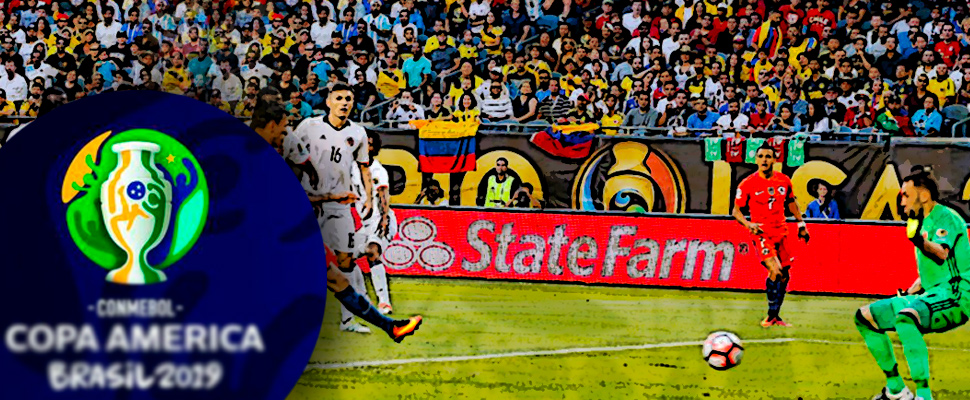 Match between Colombia and Chile in the Copa America Centenario 2016 and logo of the Copa América 2019