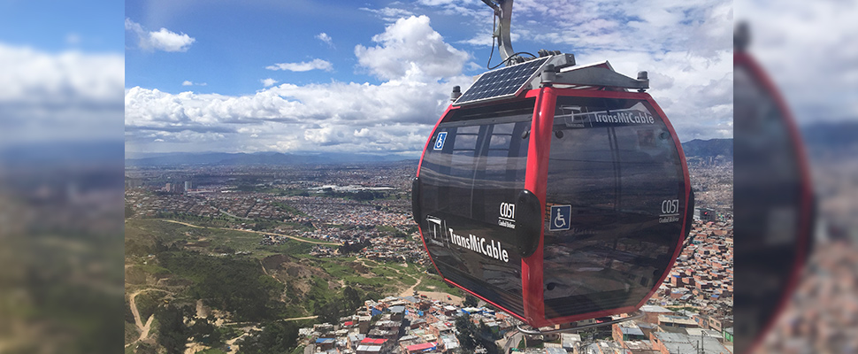 Cab of Transmicable in Bogotá