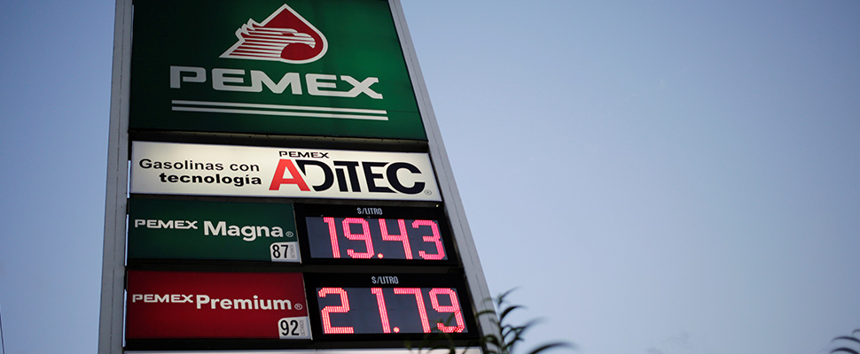 Pemex gas station price table