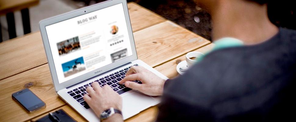 Persona revisando un blog en un computador portatil