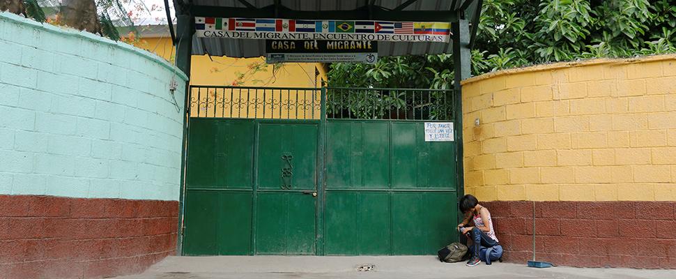 Woman outside a migration center