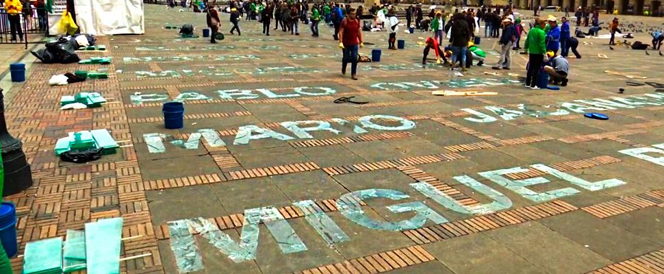 Work created by Doris Salcedo in the Plaza de Bolívar in Bogotá