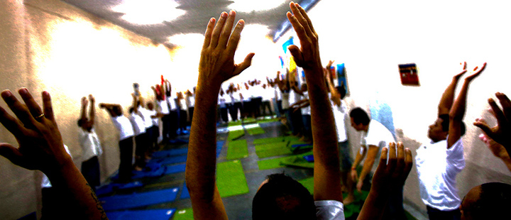 Prisoners exercise during a class by the NGO Arte de Viver, in the Evaristo de Moraes prison in Rio de Janeiro