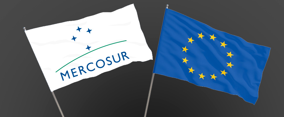 Flags of Mercosur and the European Union