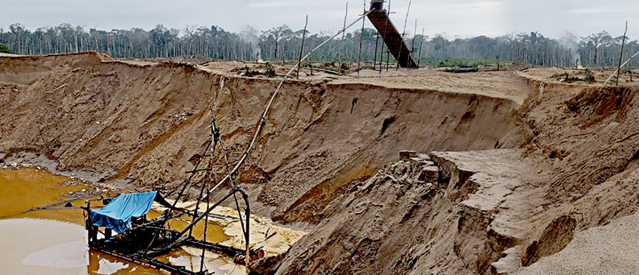 A view shows an illegal gold mining camp in Puerto Maldonado