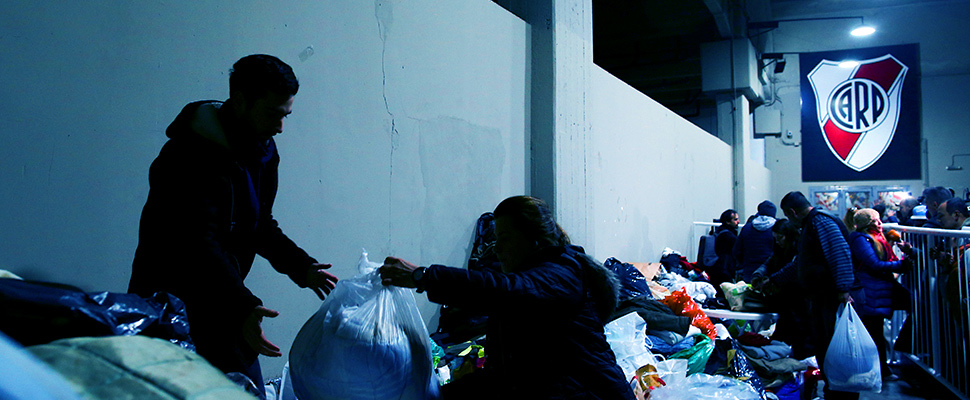 Volunteers organize donations for homeless people in Buenos Aires