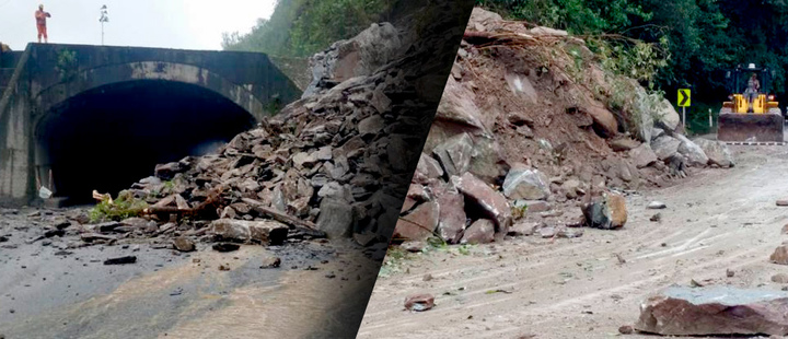 Landslides presented in different sections of the road to the plain in Colombia
