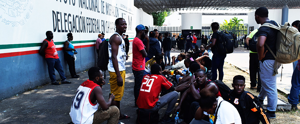 African migrants are seen outside the facilities of the National Institute of Integration in Tapachula, Mexico