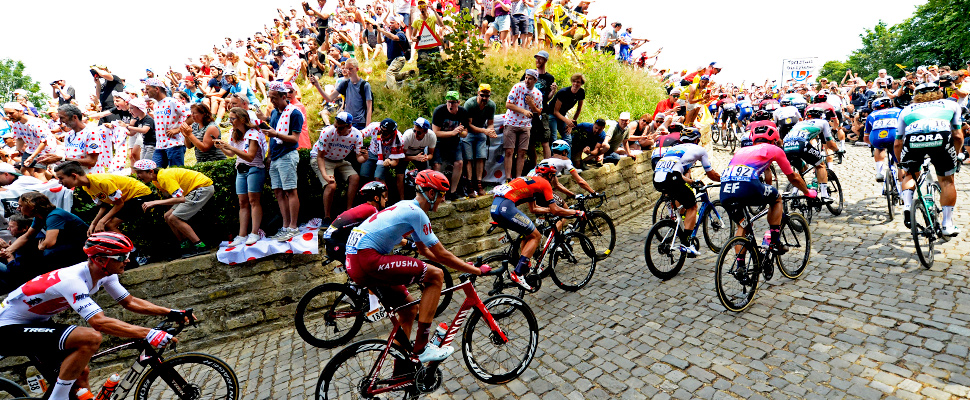 Tour de France - The peloton in action on the Wall of Geraardsbergen (Mur de Grammont).