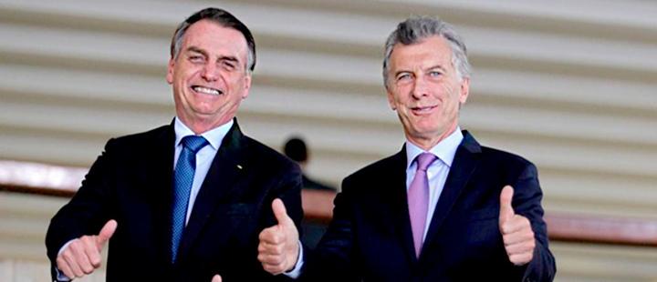 Presidente de Brasil Jair Bolsonaro y Presidente de Argentina Mauricio Macri