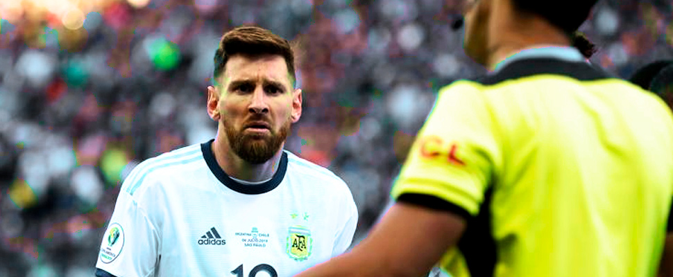 Lionel Messi during the match against Chile in Copa America
