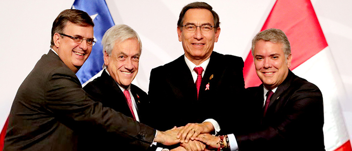Marcelo Ebrard, Sebastian Pinera, Martin Vizcarra and Ivan Duque during 14th Pacific Alliance Summit in Lima