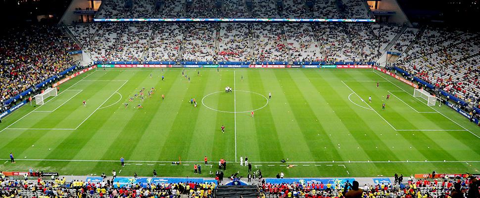 Jugadores de Colombia entrenan antes de un partido de fútbol de los cuartos de final de la Copa América contra Chile