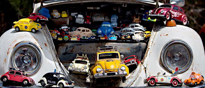 Collection of VW beetles car toys seen on Volkswagen Beetle