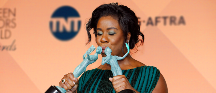 Uzo Aduba with his award at the SAG Awards