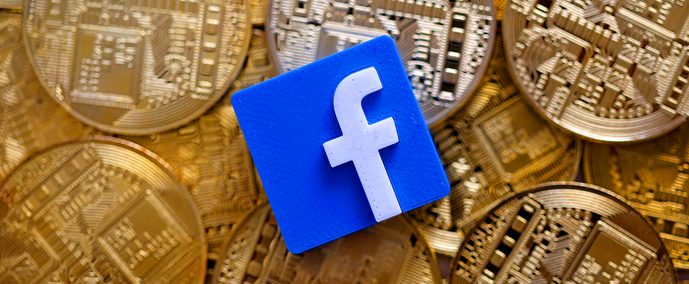 Facebook logo with coins in the background