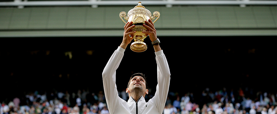 Novak Djokovic lifts the trophy