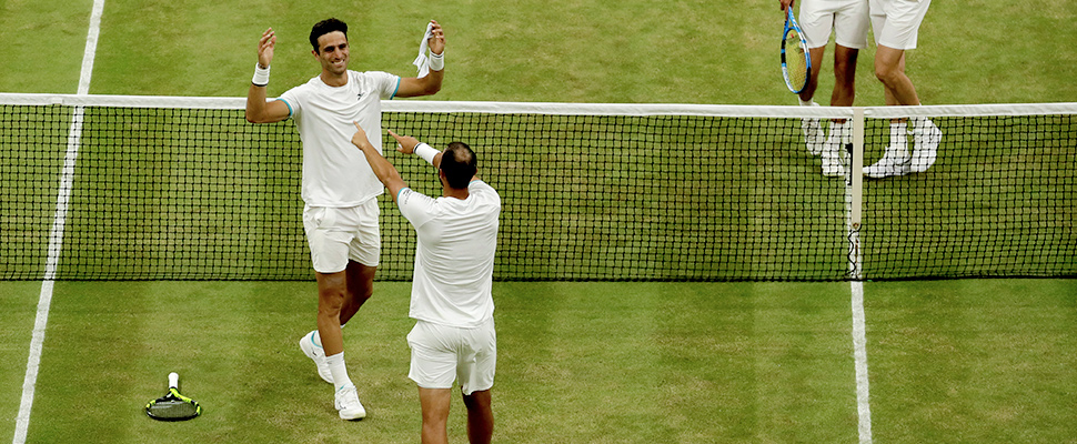 Colombia's Juan Sebastian Cabal and Robert Farah, celebrate during the men's doubles final match on day twelve of the Wimbledon Tennis Championships in London