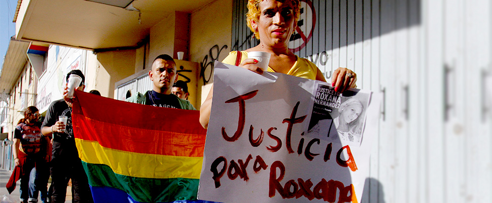 Members of the LGBT community take part in a protest to demand justice after a transgender Honduran woman, who was part of the caravan of Central American migrants that arrived at the U.S. and died in detention in Mexico