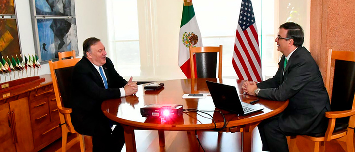 U.S. Secretary of State Mike Pompeo and his Mexican counterpart Marcelo Ebrard meet in Mexico City.