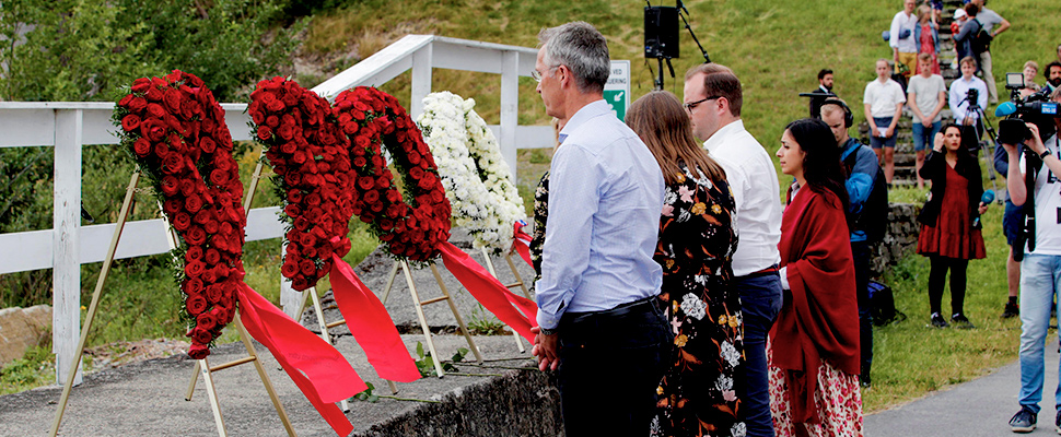 Secretary General of NATO and Norway's former prime minister Jens Stoltenberg attends a memorial ceremony on the anniversary of 2011 Norway attacks, at Utoya Island, Norway.