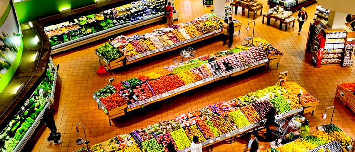 Top view of people shopping in a supermarket