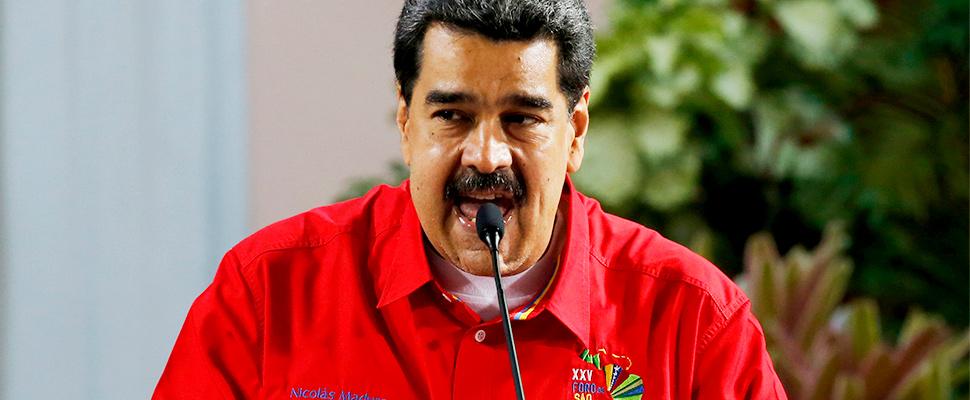 Venezuela's President Nicolas Maduro speaks during the closing ceremony of the Sao Paulo Forum at Miraflores presidential palace in Caracas