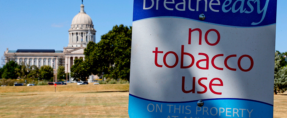 Photo shows a sign barring smoking at the state Capitol in Oklahoma City.