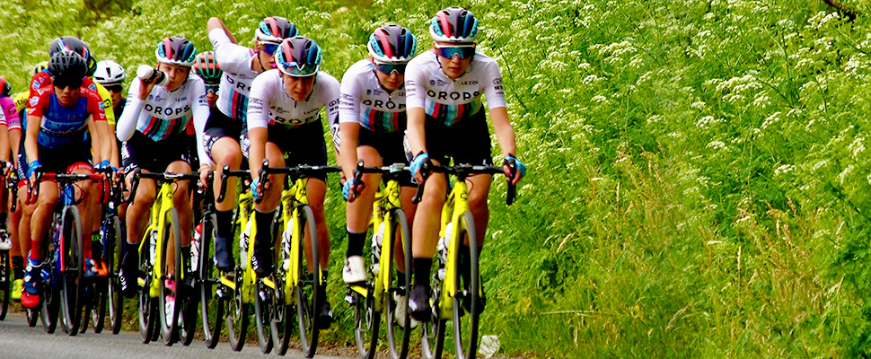Team Drops cyclists participate in the Ovo Energy Women's Tour in Yorkshire, Britain June 12, 2019