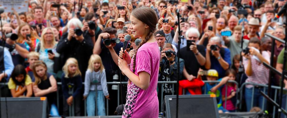 Swedish environmental activist Greta Thunberg attends