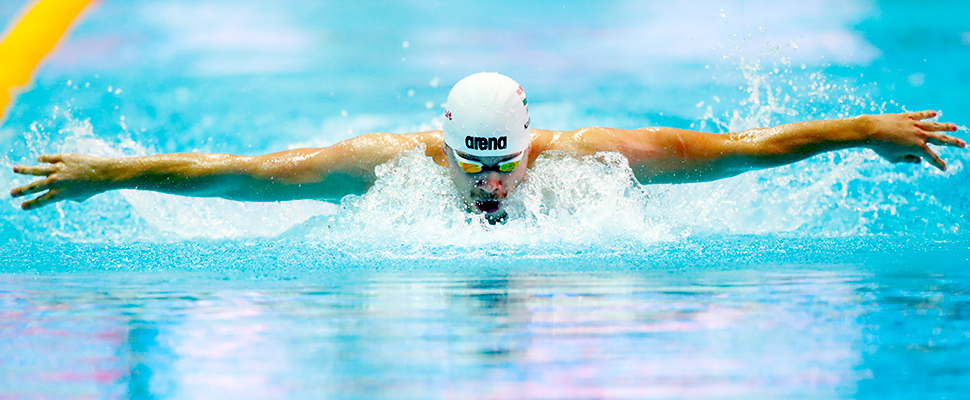 Tamas Kenderesi of Hungary competes at Nambu University Municipal Aquatics Center, Gwangju, South Korea