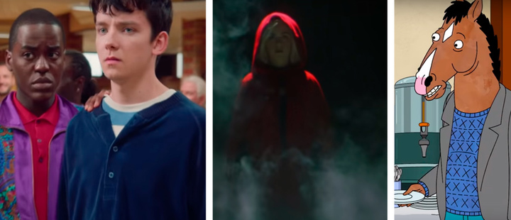 Frames from the series 'Sex Education', 'Chilling adventures of Sabrina' and 'BoJack Horseman'.