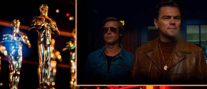 Oscar statuette and frame of the movie 'Once upon a time in ... Hollywood'.